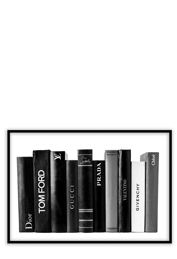 Black And White Bookshelf Gucci Tom Ford Givenchi Chanel  Valentino Dior Shelf Stack Of Books  Print Wall Print Framed Art