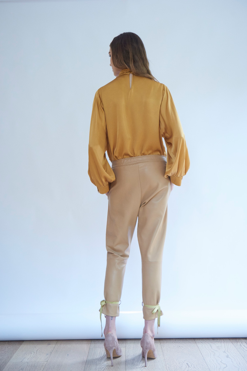Selina Leather Pants in Almond