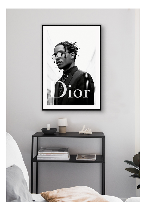 Black And White Fashionthe New Face Of Dior Homme Asap Rocky Dior Dior Designer Luxury Fancy Model Photography Print, A$AP Rocky Dior