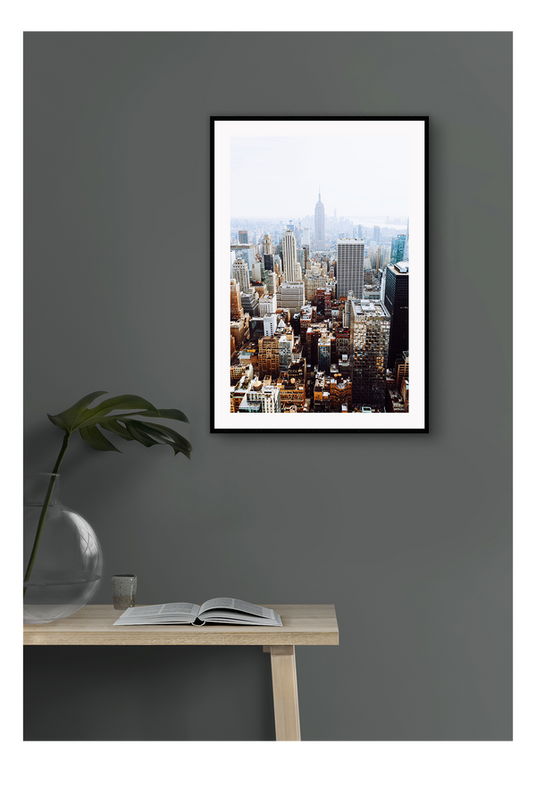 New York Buildings Sky Scarper Manhattan  Print Wall Print Framed Art Poster Image Online Photo Painting Living Lounge