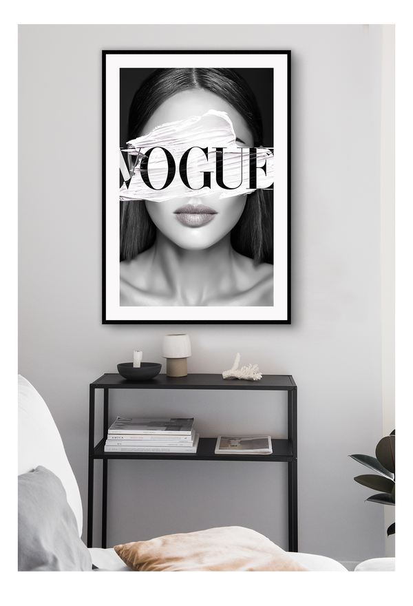 Vogue Woman Portrait Stripe On Eyes Fashion Model  Print Wall Print Framed Art Poster Image Online Photo Painting Living