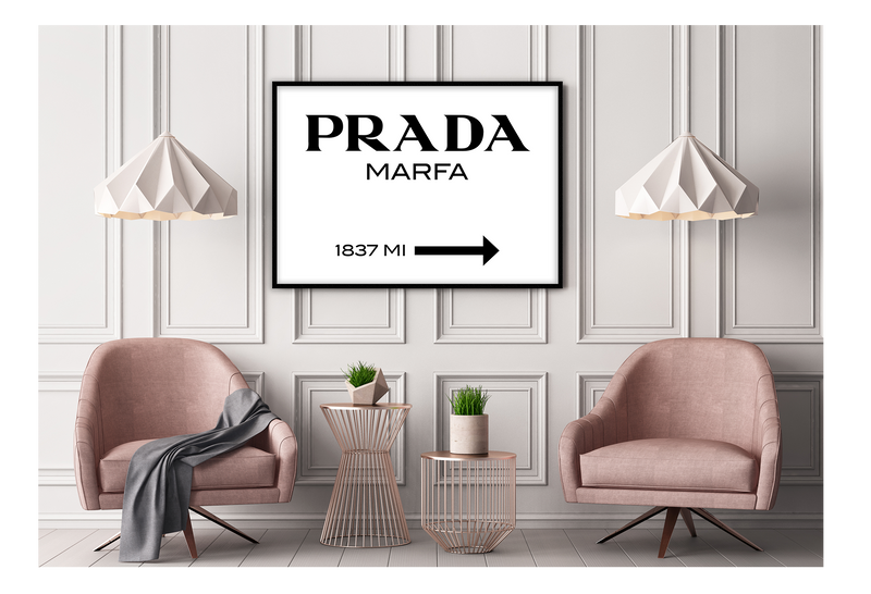 Fashion Typography Black And White Scandi Prada Marfa Since 1837 Arrow Prada Marfa Black Writing On White Background.  Print