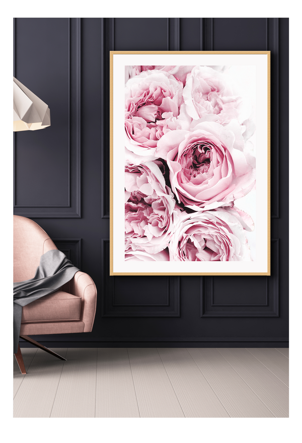 Floral Pink Bloom Pink Roses Roses Living Meditation Study Bedroom Interior Nature Natural Print Wall Print Framed Art Poster