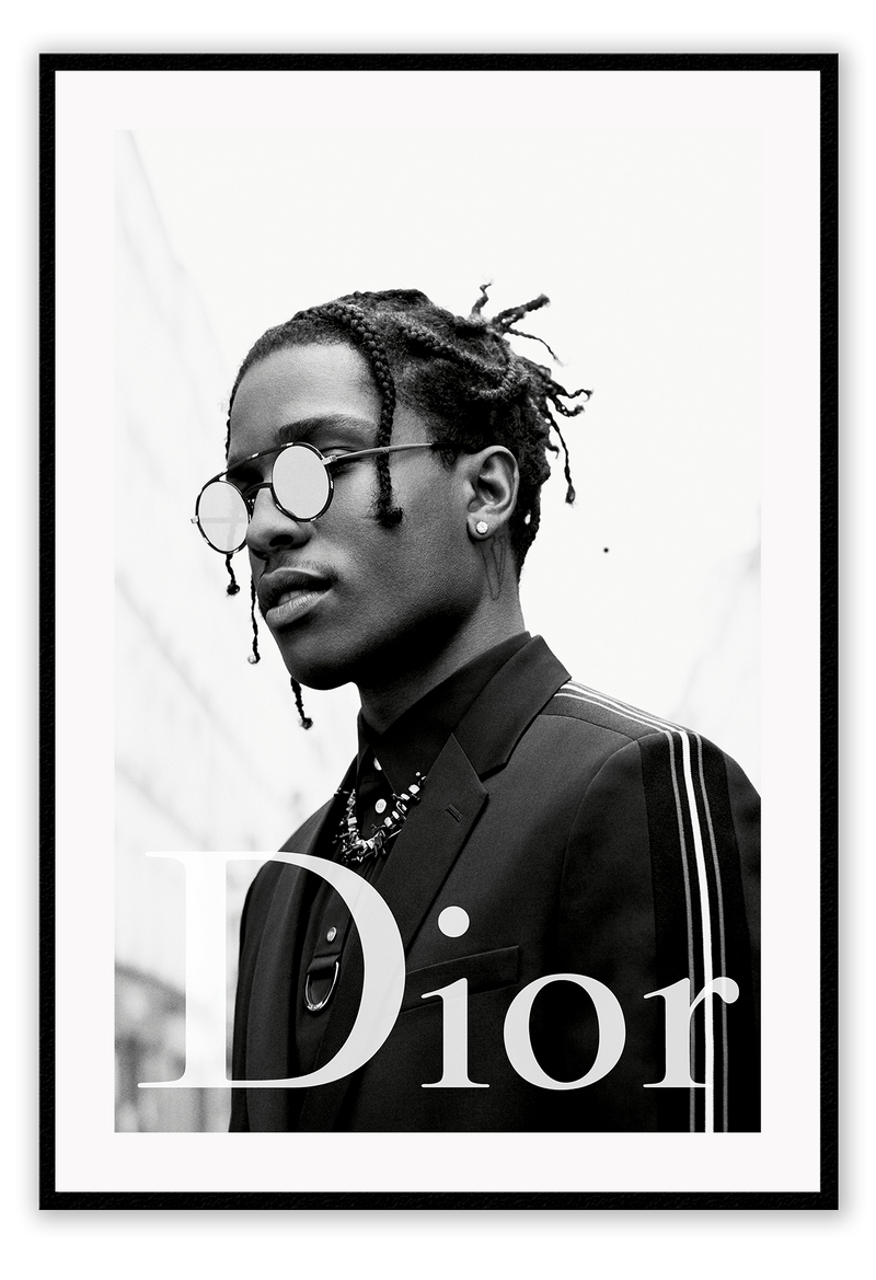 Black And White Fashionthe New Face Of Dior Homme Asap Rocky Dior Dior Designer Luxury Fancy Model Photography Print A$AP Rocky Dior