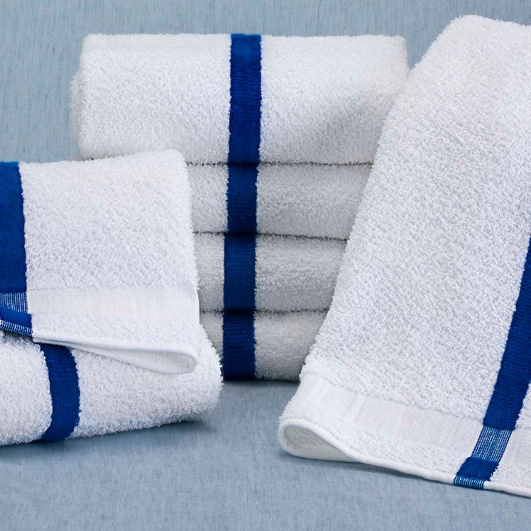 Martex Blue Center Stripe 12 White Pool Towels