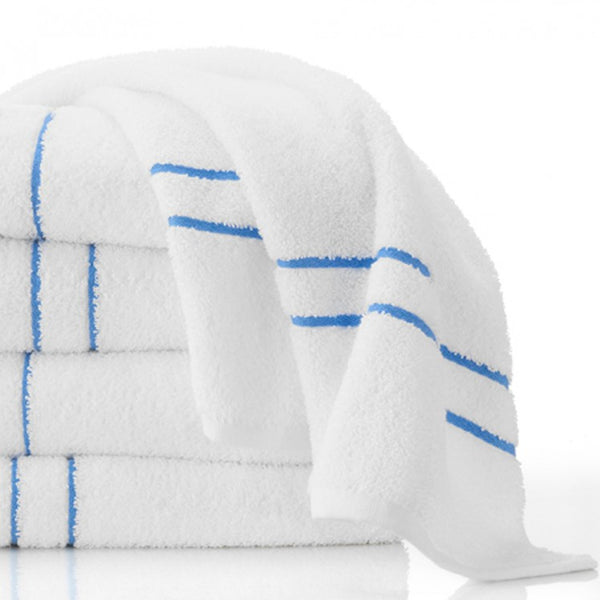 Martex Morning Glory Blue Stripe 12 White Pool Towels