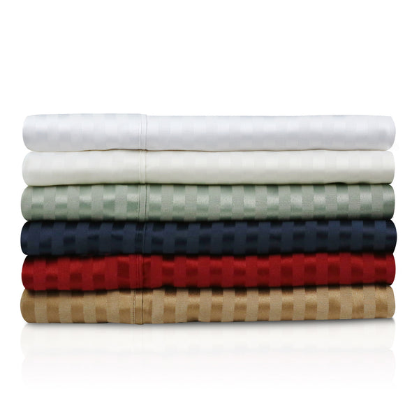 Malouf Fine Linens 300TC Premium Cotton Blend Damask Stripe Sheet Set