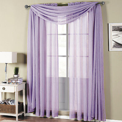 Royal Textiles Abri Lavender Rod Pocket Crushed Sheer Scarf Valance