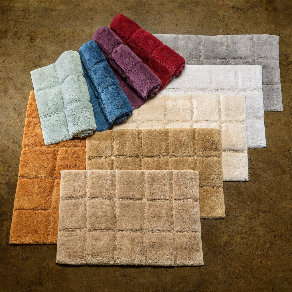 Luxor Treasures Superior 100% Cotton 2-Piece Checkered Bath Rug Set