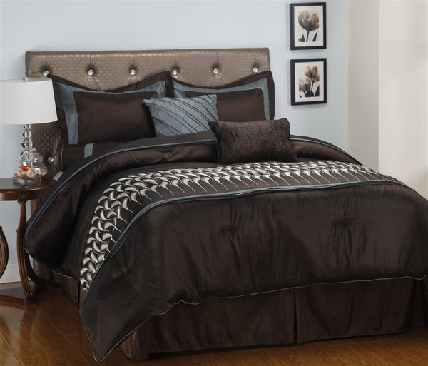 Luxor Treasures Circa 7 Piece Brown Blue & White Comforter Set
