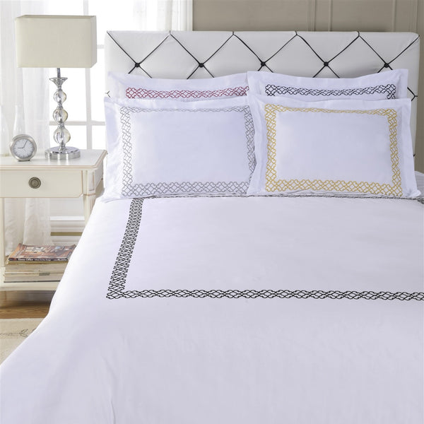 Luxor Treasures Clayton White Duvet Cover & Pillow Sham Set