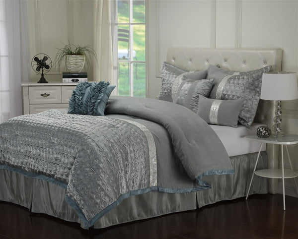 Luxor Treasures Dannica 7 Piece Silver & Teal Comforter Set