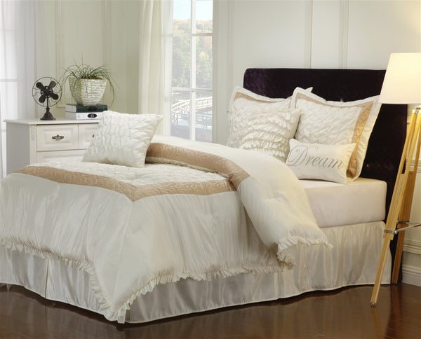 Luxor Treasures Dream 7 Piece White & Taupe Comforter Set
