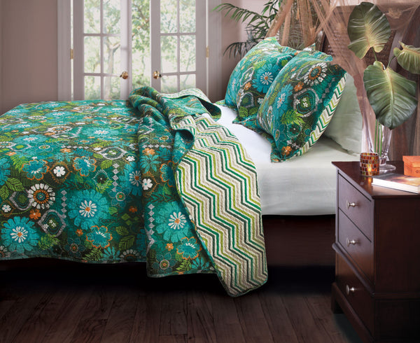Greenland Home Fashions Tiki Hut Island Quilt Set