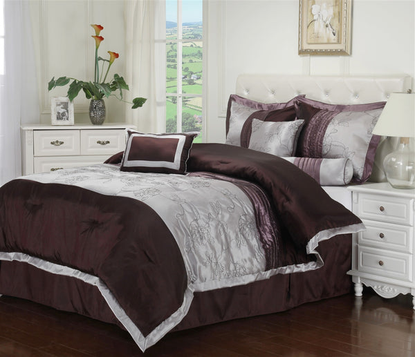 Luxor Treasures Kashmir 7 Piece White & Plum Comforter Set