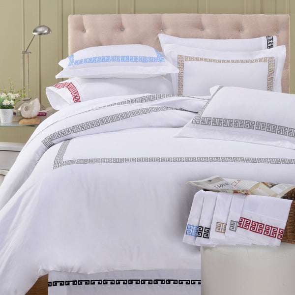 Luxor Treasures Kendell Greek Key White Duvet Cover & Pillow Sham Set