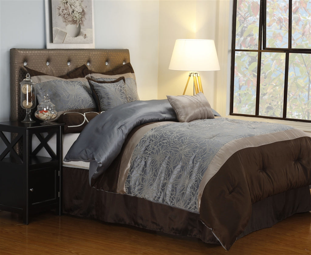 Luxor Treasures Mackenzie 7 Piece Silver & Brown Comforter Set