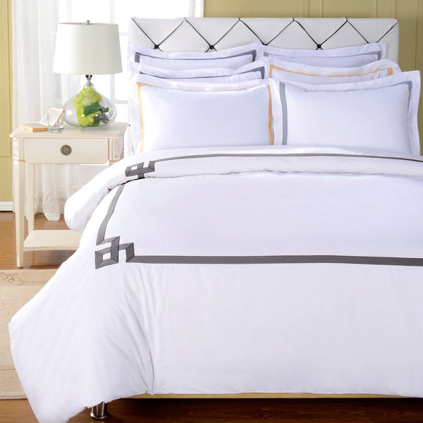 Luxor Treasures Miller Embroidered White Duvet Cover & Pillow Sham Set