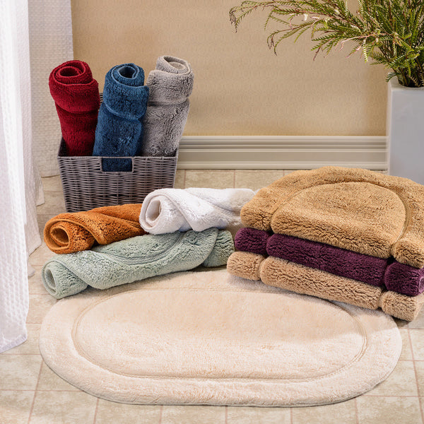 Luxor Treasures Superior 100% Cotton 2-Piece Oval Bath Rug Set