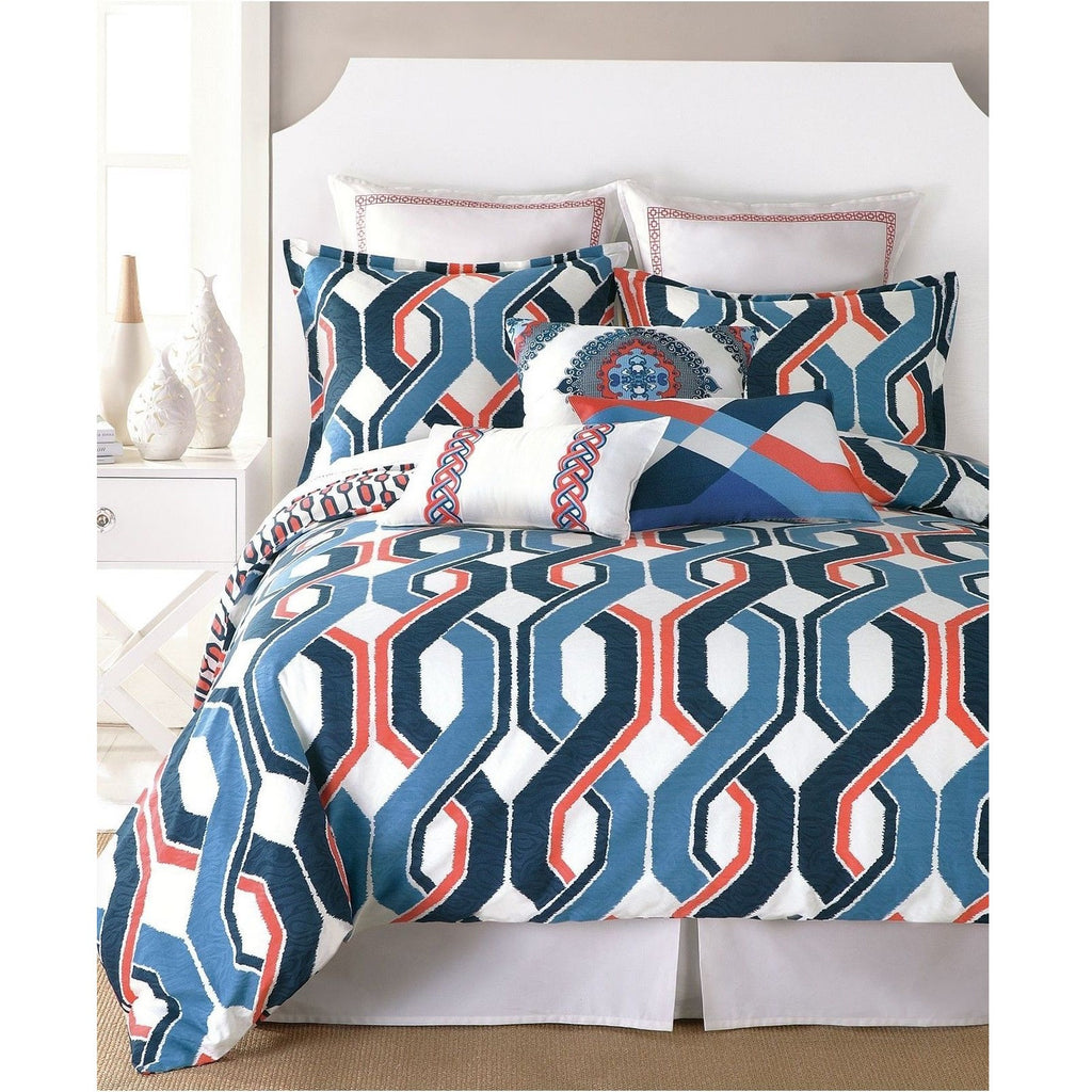 Trina Turk Coastline Ikat Blue Coral Duvet Cover Pillow Sham Set
