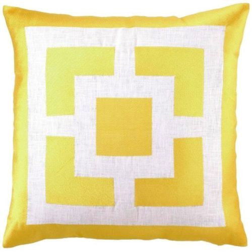 Trina Turk Palm Springs Blocks Yellow Embroidered Decorative Pillow