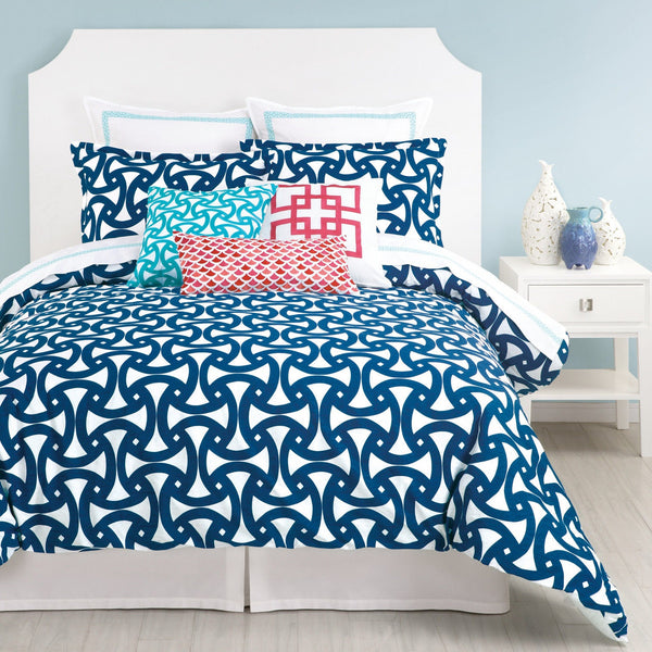Trina Turk Santorini Navy Blue Comforter & Pillow Sham Set