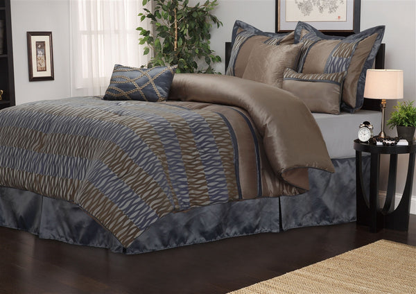 Luxor Treasures Westerly 7 Piece Grey & Brown Comforter Set