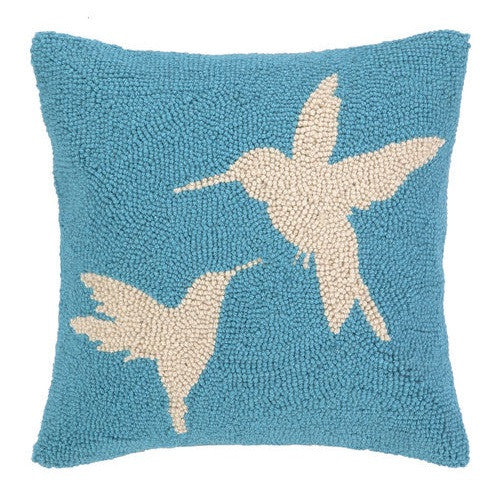 Peking Handicraft Hummingbird in Blue 14x14 Hook Pillow