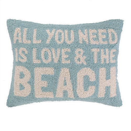 Peking Handicraft All You Need Is Love & The Beach 14x18 Hook Pillow
