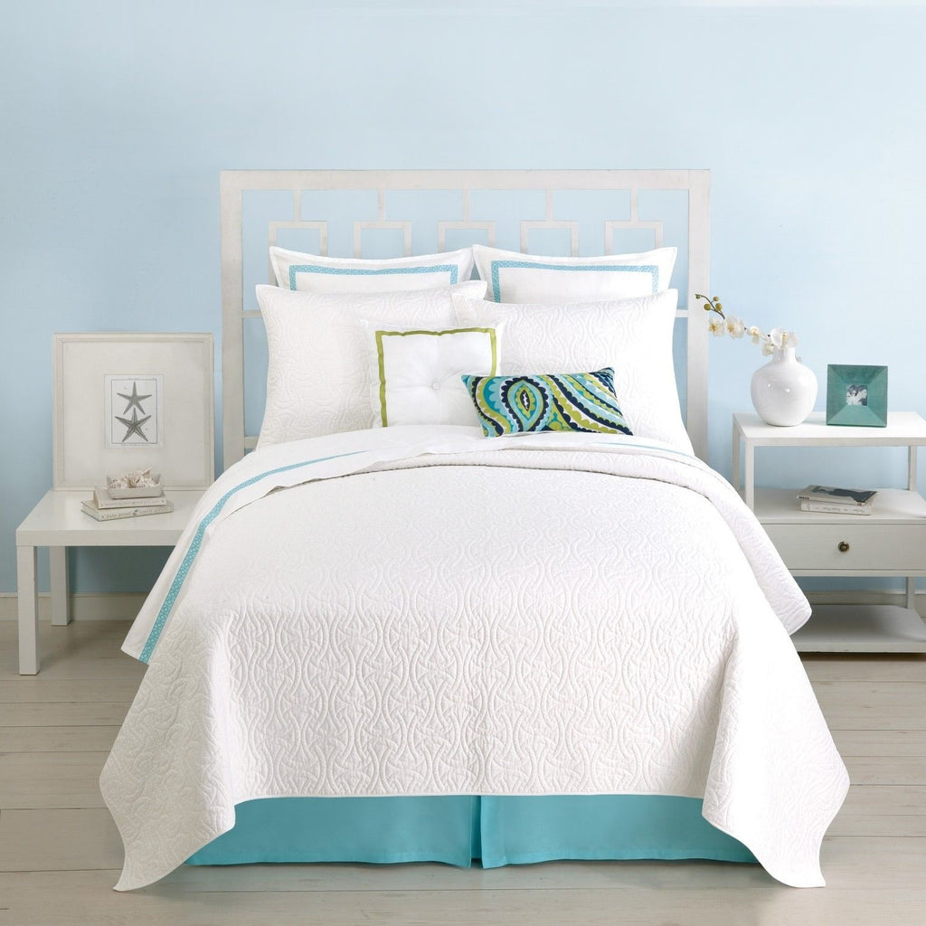 Trina Turk Santorini White Quilted Coverlet Bedspread