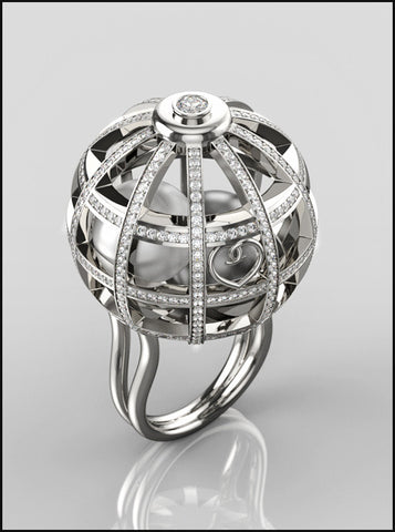 Bague Cage d'Amour en Or gris, diamants et perles, Ref. 534 G