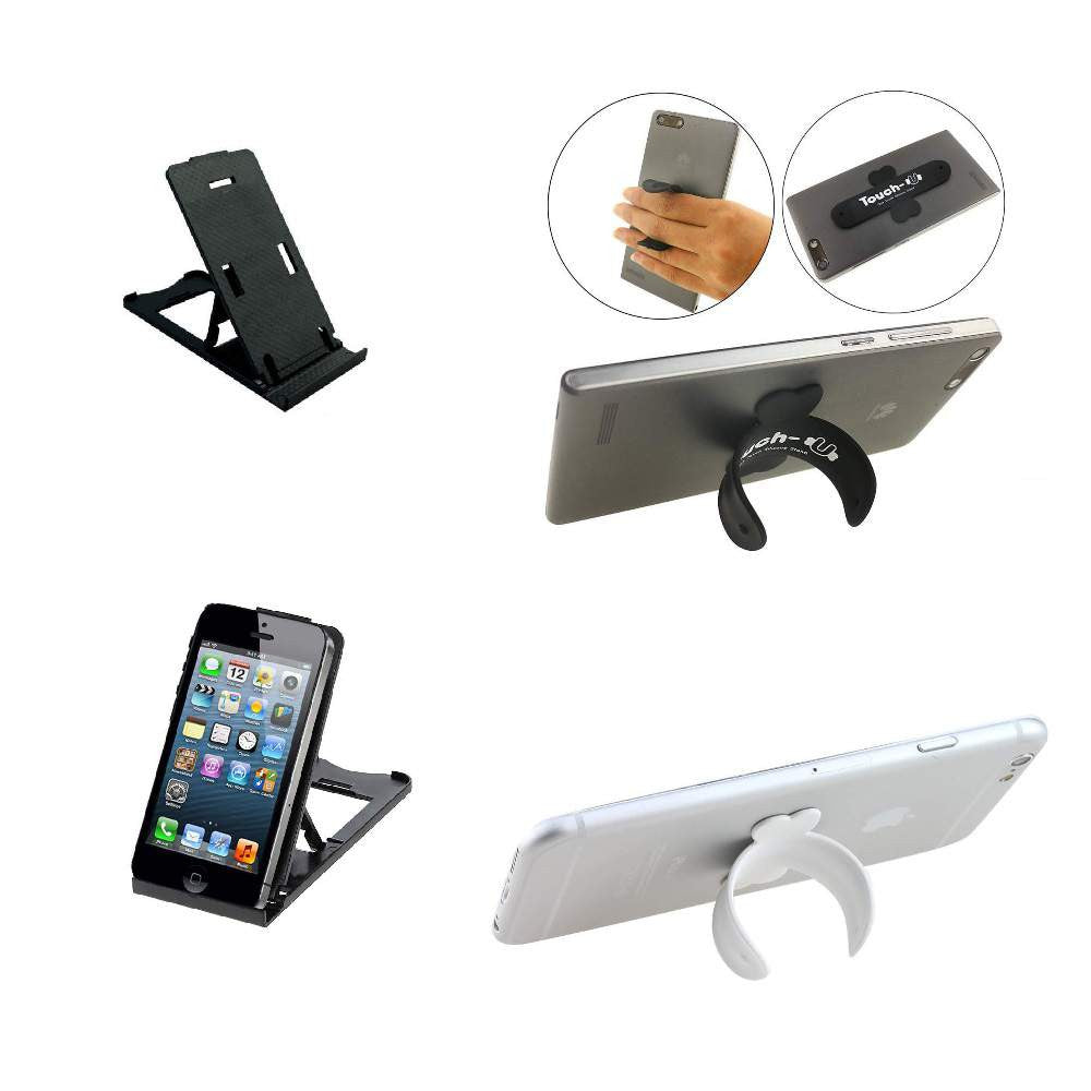 Portable Mobile Stand with Silicon Foldable Stand for Tablet & Mobile - 2 IN 1 Combo Pack
