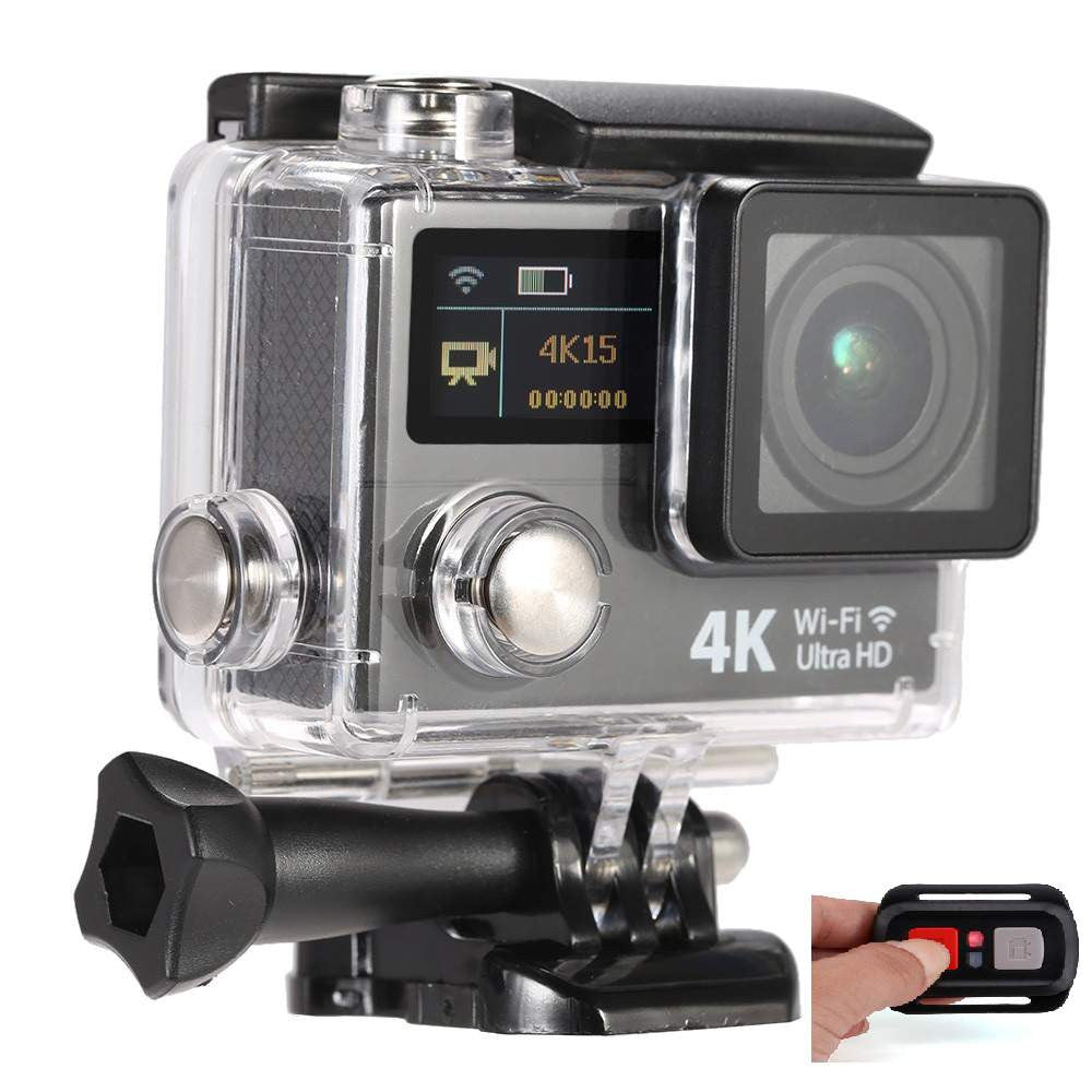 4K Ultra HD 12 MP WiFi Dual Screen Waterproof Digital Action Camera & Sports Camcorder With Accessories & Remote Control