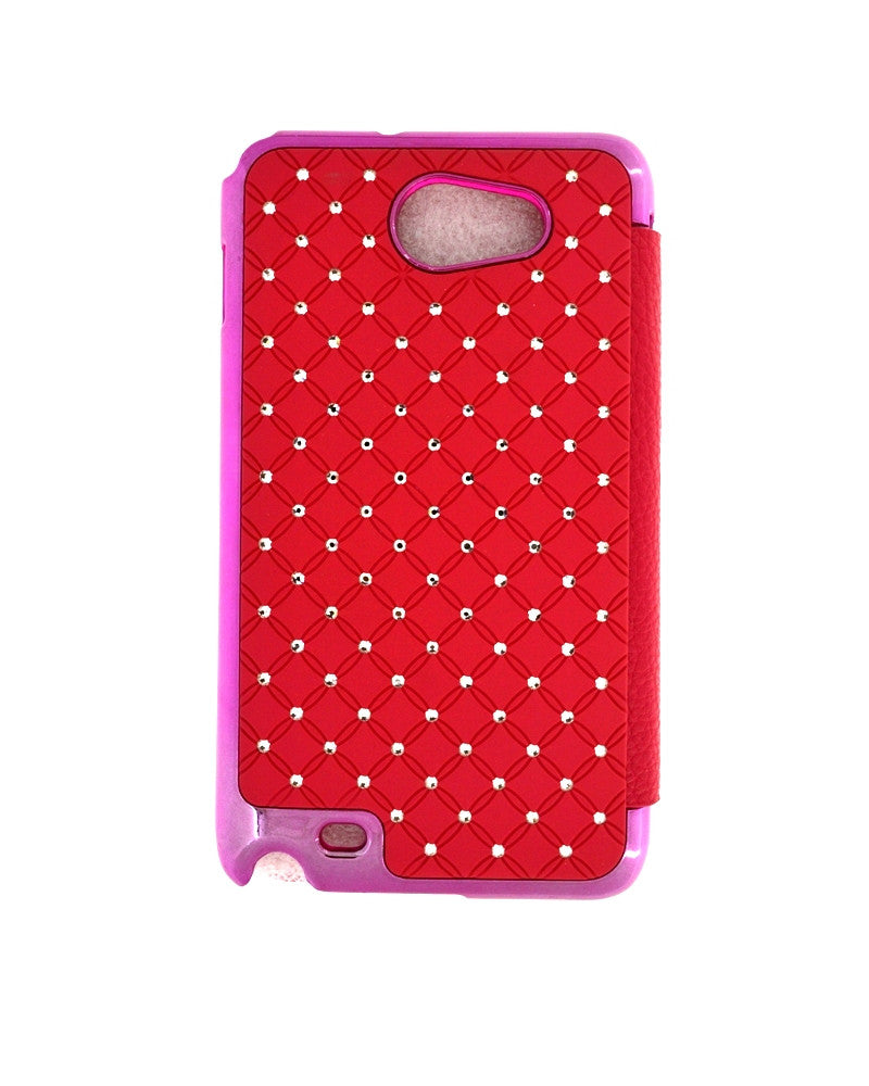Diamond Studded Hard Shiny Flip Cover For Samsung Galaxy Note 1-PINK