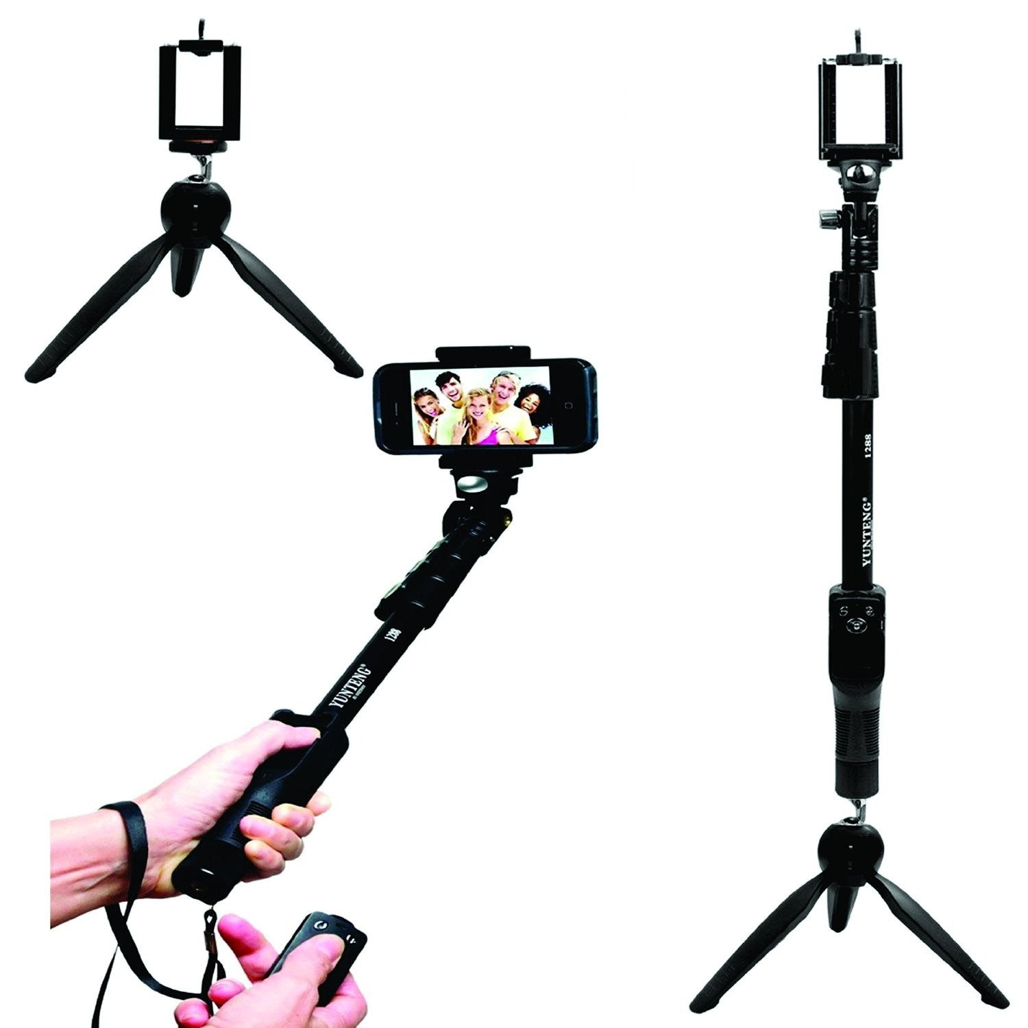 Yunteng YT 1288 2 In 1 Adjustable Selfie Stick Monopod & YunTeng YT 228  Mini Tripod for Smartphones & DSLR Cameras with Bluetooth Remote Shutter