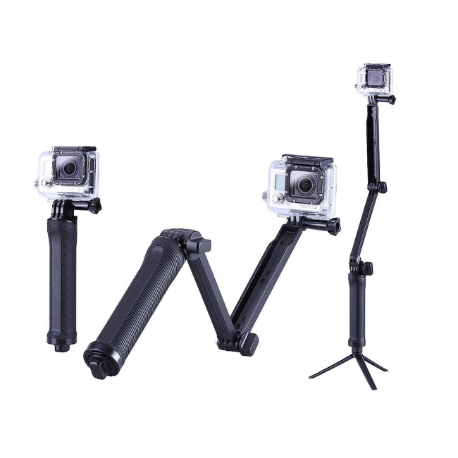 3 in 1 Adjustable Monopod, Camera Grip Holder & Tripod For Gopro,SJCAM & Yi