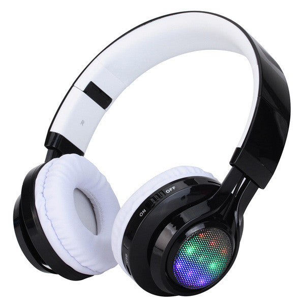 Wireless Bluetooth Headphone With Dancing Lights FM Micro SD Card Slot & AUX Input