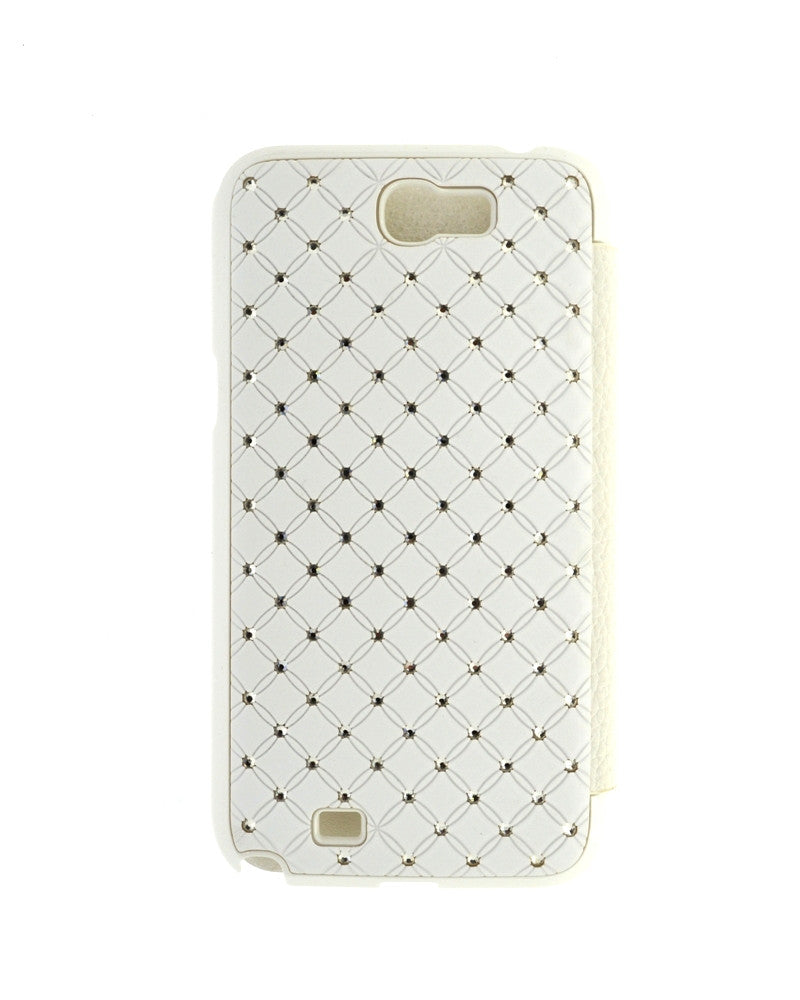 Diamond Studded Flip Cover For Samsung Galaxy Note 2 N7100-WHITE