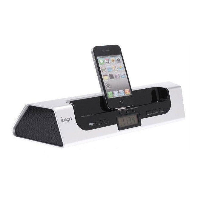 2 in 1 iPega Portable  Audio Speaker & Dock Charging With LCD Digital Clock