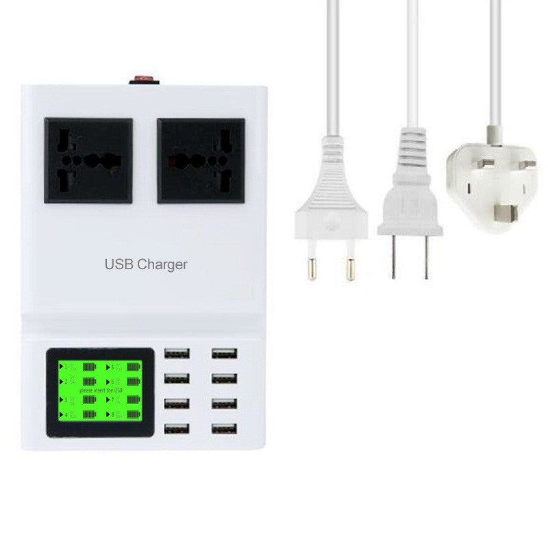 8 USB & 2 Socket Wall Charger LED Display Extension Cord | Mobilegear