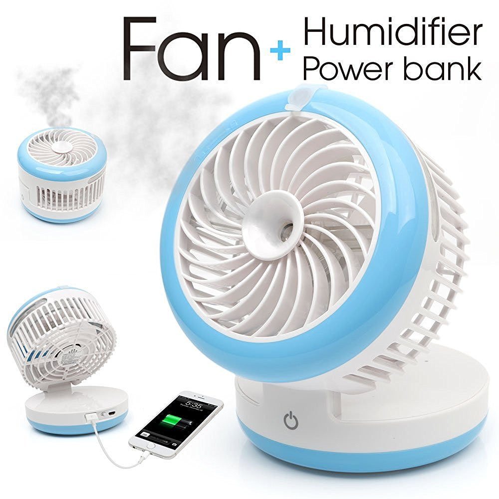 Mini USB Rechargeable Cooling Fan With Humidifier & Power Bank