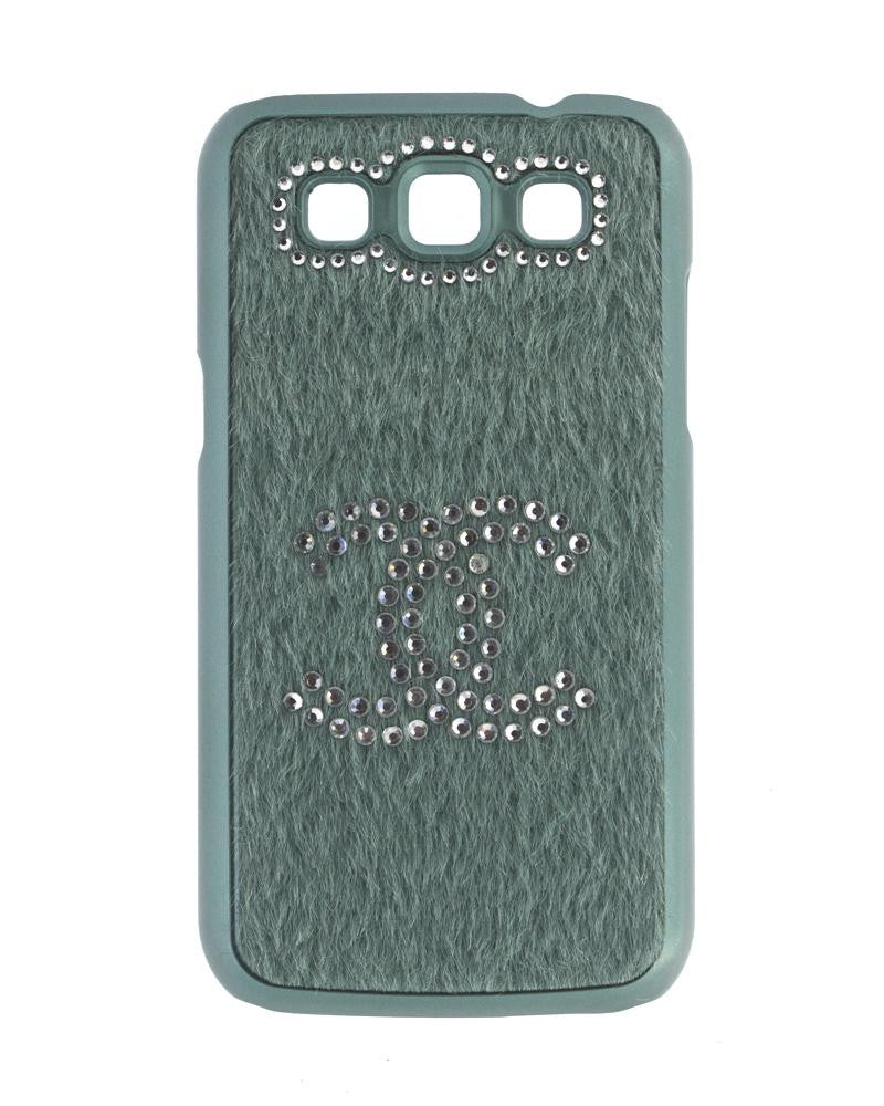 Handmade Diamond Studded Furry Mobile Cover for Galaxy Win i8552-GREEN