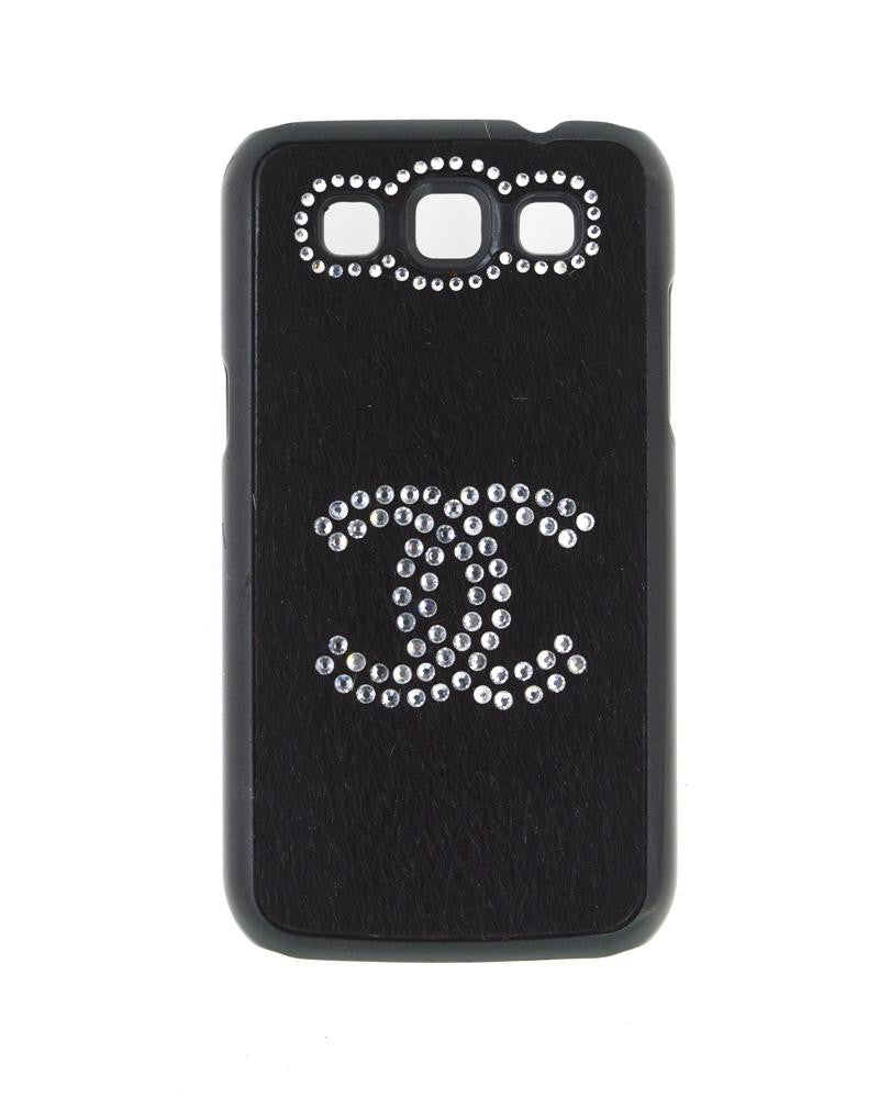 Handmade Diamond Studded Furry Mobile Cover for Galaxy Win i8552-BLACK
