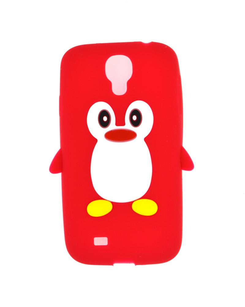 Penguin Silicone Jelly Mobile Cover for Samsung Galaxy S4 i9500-RED