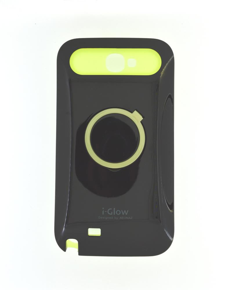 i-Glow Night Glow Mobile Cover For Samsung Galaxy Note 2 N7100-BLACK