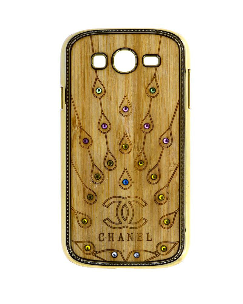 Wooden Finish Diamond Studded Mobile Covers for Samsung Galaxy Grand Duos