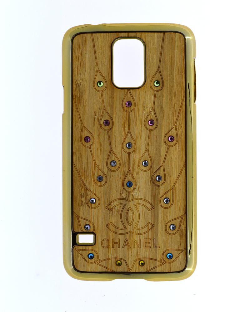 Wooden Finish Diamond Studded Mobile Covers for Samsung Galaxy S5