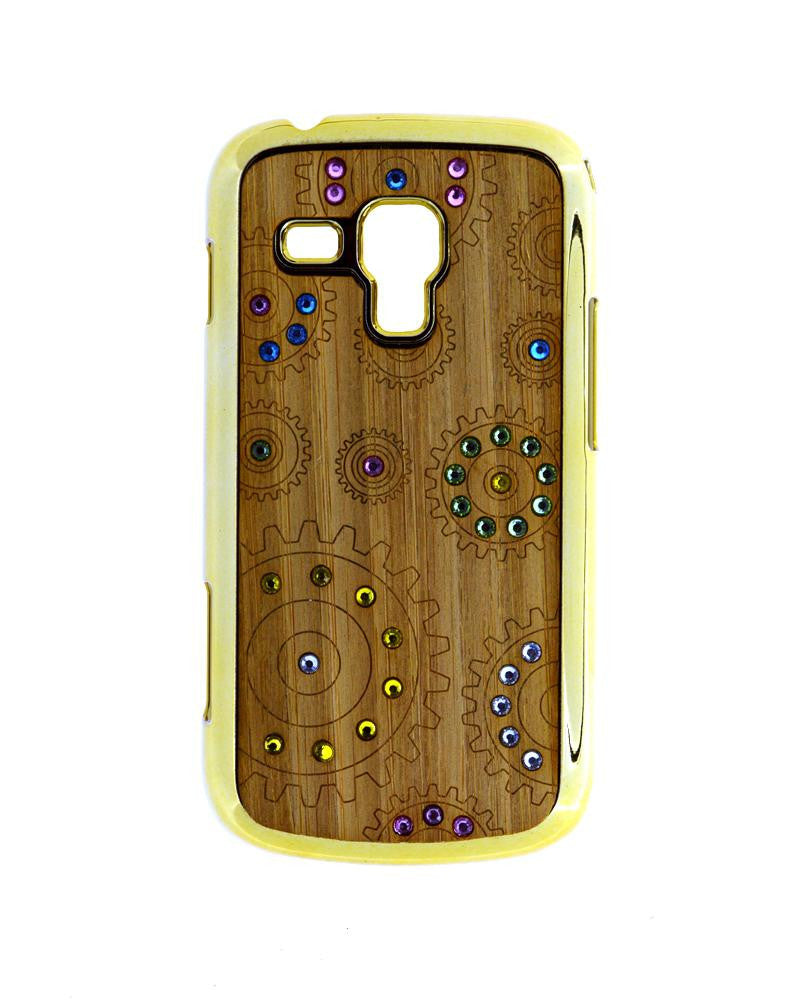 Wooden Finish Diamond Studded Covers for Galaxy Trend Duos S7562