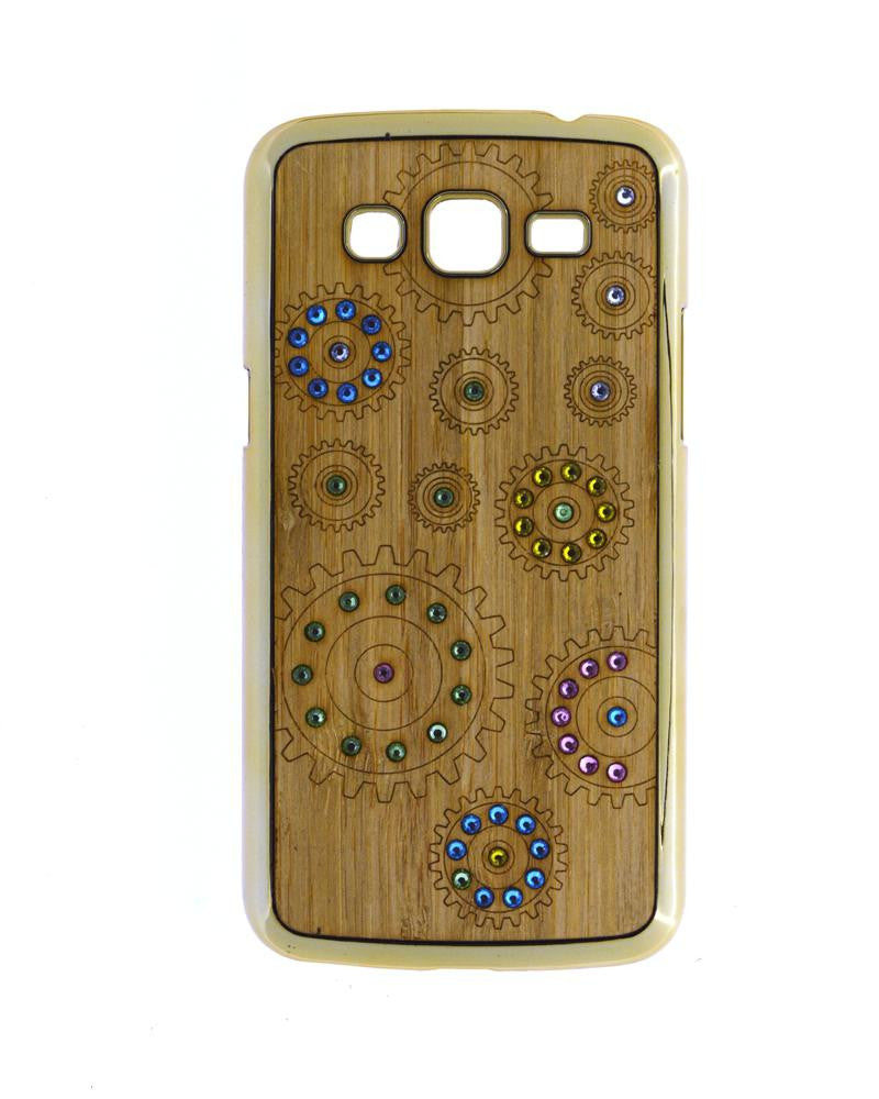 Wooden Finish Diamond Studded Cover for Galaxy Grand 2 Duos 7106