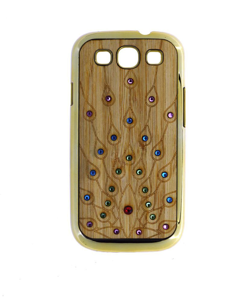 Wooden Finish Diamond Studded Mobile Covers for Samsung Galaxy S3 I9300